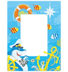 Frame with a shark captain vector image vector image