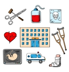 Hospital and medicine sketch style icons vector image