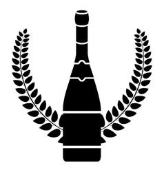 Isolated alcohol bottle inside wreath design vector