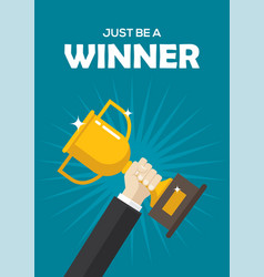 motivational poster with a golden winner cup vector image vector image