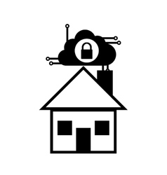Pictogram home security system technology cloud vector