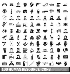 100 human resources icons set in simple style vector