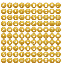 100 tea cup icons set gold vector