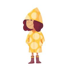 Bad windy rainy weather funny cartoon people icon vector