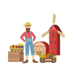 Bearded Farmer Selling Vegetables In Small Town vector