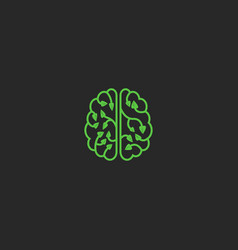 Brain logo eco creative design element think idea vector