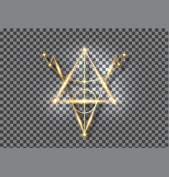 Bright gold sigil protection magical amulet vector