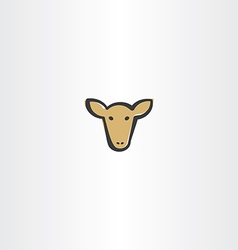 Brown cow head icon vector