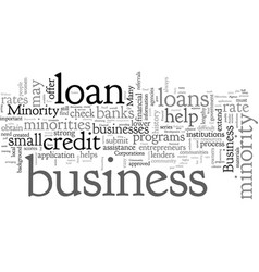 Business loans for minorities get a good rate vector