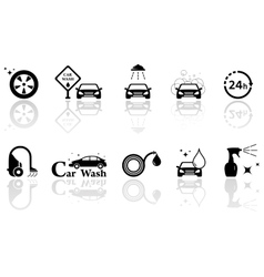 Car wash isolated objects set vector