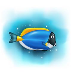 Cartoon cute blue tang fish vector