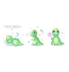 cartoon cute dinosaur character vector image