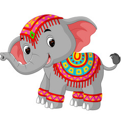 Cartoon elephant with traditional costume vector