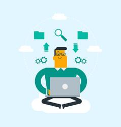 caucasian man using cloud computing technologies vector image vector image