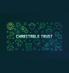 charitable trust colored line horizontal vector image