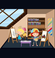 Children painting at the attic vector