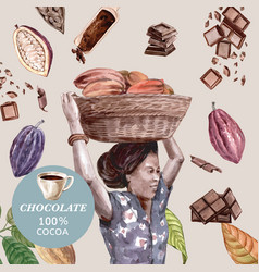 Chocolate with woman harvesting cacao vector