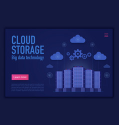 cloud storage landing page template cloud vector image
