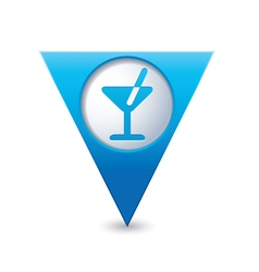 Cocktail icon map pointer blue vector