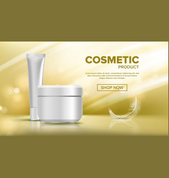 Cosmetic bottle advertising shiny object vector