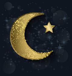 crescent moon with stars vector image