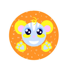 cute cartoon happy animal sticker fantasy vector image