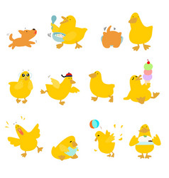 Cute character duck variety action pack vector