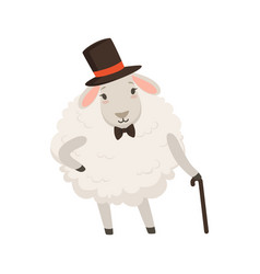 cute gentleman sheep character wearing top hat vector image