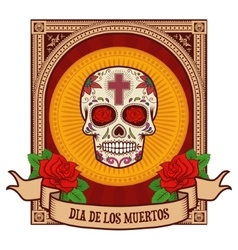 Day of the dead Sugar skull in vintage frame vector