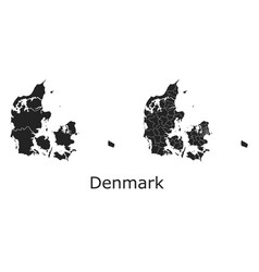 Denmark map with regional division vector
