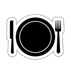 Dish and cutlery isolated icon vector