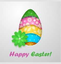 Easter egg with flower vector