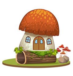 enchanted mushroom house on white background vector image