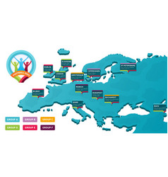 European 2020 football championship with a map vector