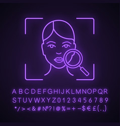 Face scanning neon light icon vector
