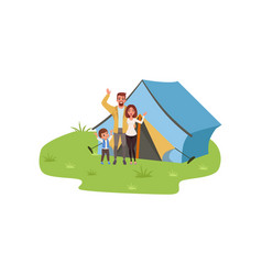 Family camping traveling and relaxing concept vector