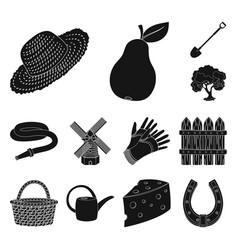 Farm and gardening black icons in set collection vector