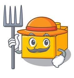 Farmer plastic building blocks cartoon on toy vector