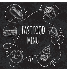 Fast food menu Set of cartoon background vector