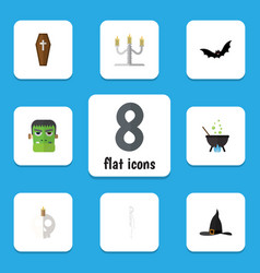 Flat icon festival set of candlestick cranium vector
