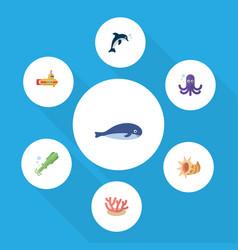 Flat icon marine set of algae playful fish vector