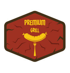 Flat retro vintage sausage grill label isolated on vector