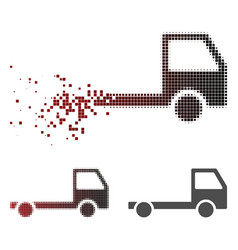 Fractured dotted halftone truck chassis icon vector