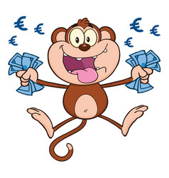 funny monkey character with cash money vector image
