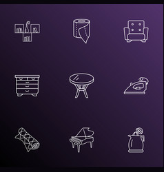 Furniture icons line style set with juicer coffee vector