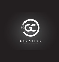 Gc circular letter logo with circle brush design vector