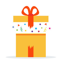 gift box present in opened yellow box with red vector image