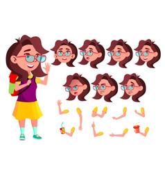 Girl child kid teen schoolchildren vector