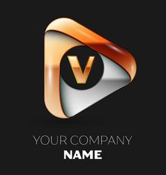 Golden letter v logo in golden-silver triangle vector