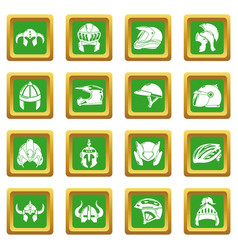 Helmet icons set green square vector